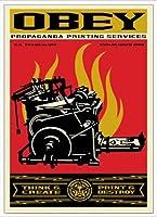 ポスター オベイ Print and Destroy/Shepard Fairey 手書きサイン入り 額装品 アルミ製ハイグレードフレーム(ホワイト)
