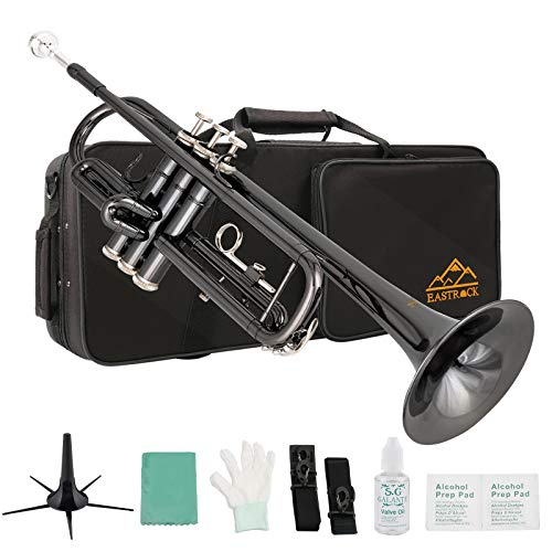 Eastrock Trumpet Standard Brass Bb Black Nickel Trumpet Instrument with Hard Case,Five Legs Trumpet Stand,Gloves, 7C Mouthpiece, Valve Oil and Trumpet Cleaning Kit for Student Beginner