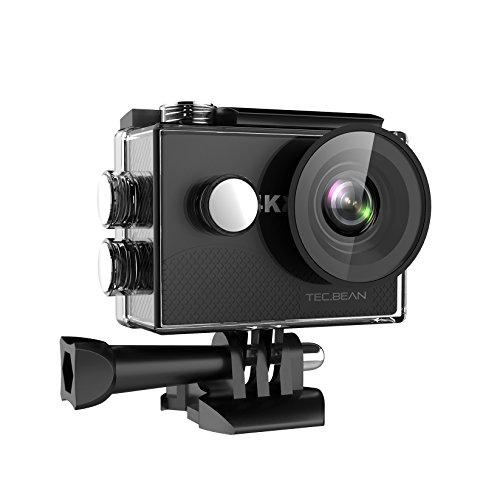 TEC.BEAN 4K Action Cam WIFI Sports Impermeabile Action Camera with 170°Grandangolare e Kit Accessori per Nuoto e altri Sport Esterni (Nero)