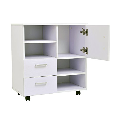 HOMCOM Nachttisch Beistelltisch Rollwagen mit 2 Schubladen+1 Schrank Schlafzimmer Wohnzimmer Spanlatte in Weiß 60 x 65 x 35 cm