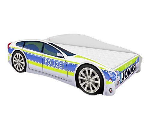 ACMA Kinderbett Auto-Bett Polizei mit Rausfallschutz, Lattenrost und Matratze (Polizei 1, 160x80 cm + Name)