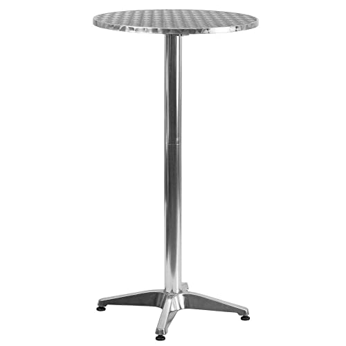 Flash Furniture 23.25'' Round Aluminum Indoor-Outdoor Folding Bar Height Table with Base -