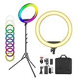 Neewer 19-Zoll RGB LED Ringlicht mit Ständer, 60W dimmbar Bi-Color 3200K-5600K CRI 95+ mit Spezialszeneneffekt für Selfie Make-up Salon Twitch Blog YouTube Videoaufnahmen und Live Streaming usw.