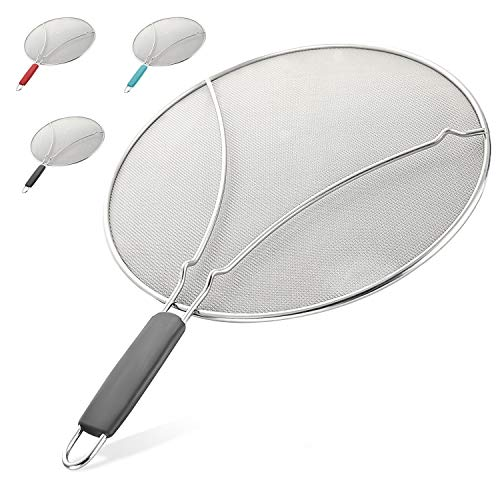 Splatter Screen for Frying Pan - Stops Almost 100% of Hot Oil Splash - Large 13' Stainless Steel Grease Guard Shield and Catcher- Keeps Stove Clean & Prevents Burns When Cooking by Zulay (Gray)
