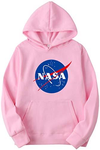 OLIPHEE Sudadera con Capucha con Logo De La NASA Sin Tirantes Shoulder Bandera Logo para Mujer