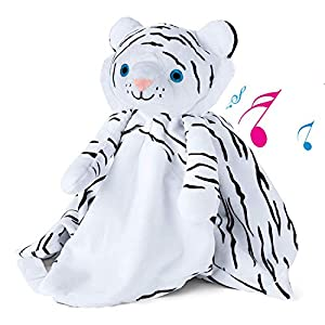 Snuggly Baby Sound Machine – White Tiger with Lullaby and White Noise – Newborn Crib Sleep Soother – 2 Vol & Sound opts – Boy Girl Gifts – Portable Toy – New Baby Sleep Aid – Diaper Bag – Mothers Day