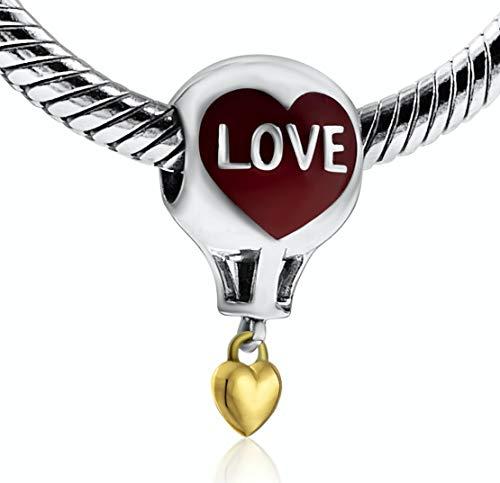 BOLENVI Hot Air Hotair Globo Amor Corazón Oro 925 Colgante de Plata de Ley Charm Charm Charm Charm Charm para Pandora & Similar Charm Pulseras o Collares