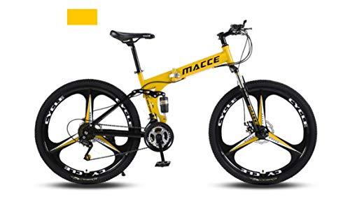 INFANDW Bicicleta de montaña Plegable 26 Pulgadas de Velocidad Variable Cross-Country Racing Doble Amortiguador Bicicleta para Hombres y Mujeres (Amarillo 3 Cuchillos)