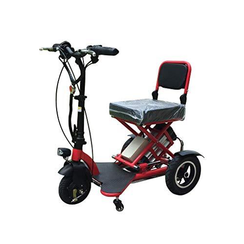 CCLLA 2020 Triciclo Plegable Compacto Eléctrico Bicicleta eléctrica Plegable para Adultos Bicicleta eléctrica para Ancianos Aleación de Aluminio Bicicleta para discapacitados de 3 Ruedas Baterías