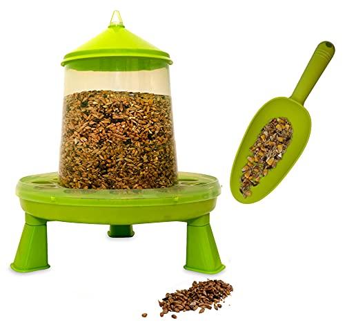 Mangeoire poules 2 kg et pelle à grains, distributeur automatique pour aliment volailles, poulailler et pondoir, accessoire pour nourriture graine de volaille et vers de farine pour poule