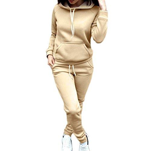WEIMEITE Para Mujer Sudaderas con Capucha Ropa de Pantalón 2 UNIDS Conjunto Cálido Nueva Señoras de Las Mujeres Carta Conjunto Conjunto 2 unids Tops Pantalones Traje de Color Caqui 4XL
