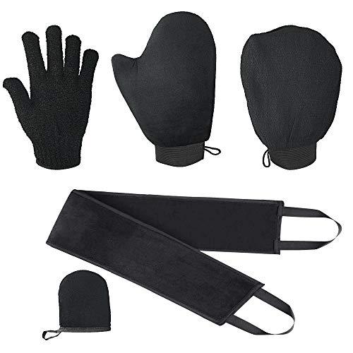 EMAGEREN 5-in-1 zelfbruiner handschoen applicator Tan Mitt applicator kit zelf-applicator set met exfoliërende handschoen zelfbruinende handschoenen zelfbruinende rugapplicator gezichtshandschoen