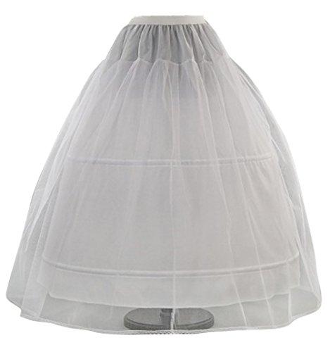 Romantic-Fashion Damen Reifrock Petticoat Tüllrock 2 Reifen Umfang 300cm verstellbar Weiß zum Brautkleid Ballkleid Hochzeitskleid Größe 46