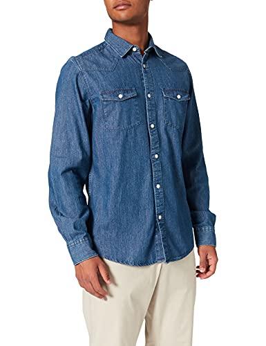 Springfield Camisa Vaquera Dos Bolsillos, Azul Medio, XS para Hombre