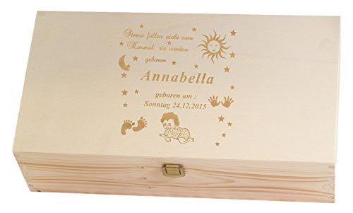 Feiner-Tropfen Taufandenken Erinnerungskiste Holz personalisiert mit Wunschnamen Baby Junge MädchenGravur 1