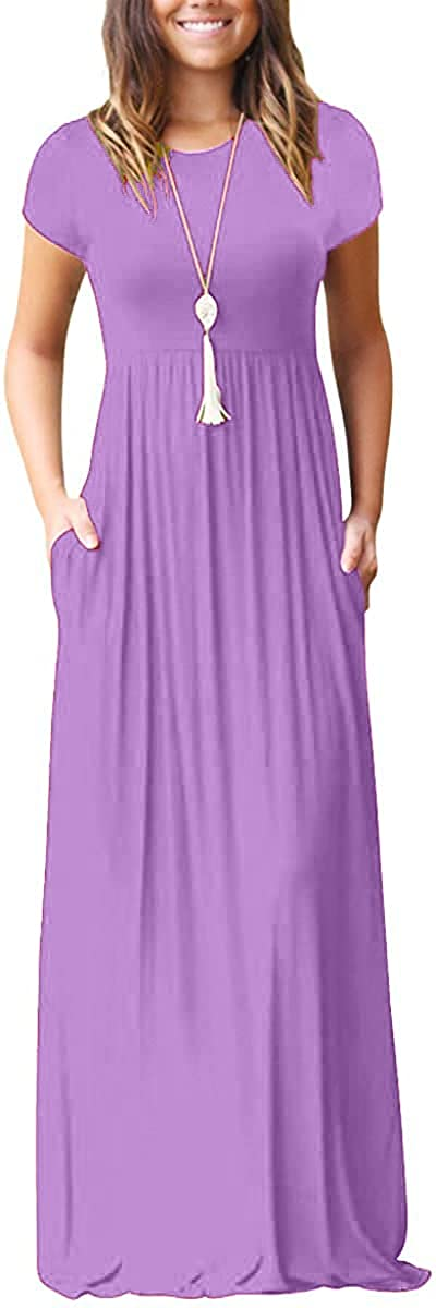 AUOMITH Women's Short Sleeve Loose Plain Summer Maxi Casual Empire Waist Long Dresses with Pockets
