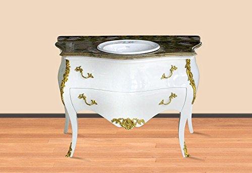 Casa Padrino Barock Waschtisch Weiß/Gold mit cremefarbener Marmorplatte Barock Badezimmermöbel