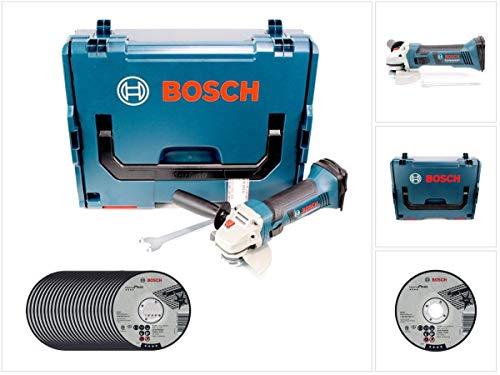 Bosch GWS 18-125 V-LI haakse slijper met accu, 18 V, 125 mm + 25 x AS 60 T INOX BF slijpschijf + L-Boxx