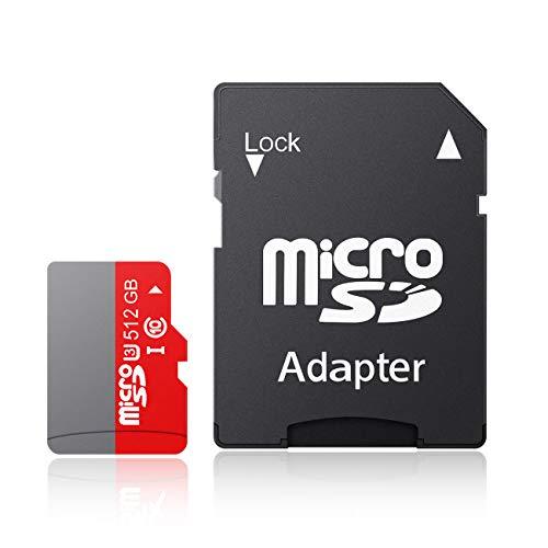 Tisumfacai Micro sdxc カード 256GB 512GB 大容量 超高速100MB s マイクロ SD カードClass10対応 アダプター付き (512GB, Gray)