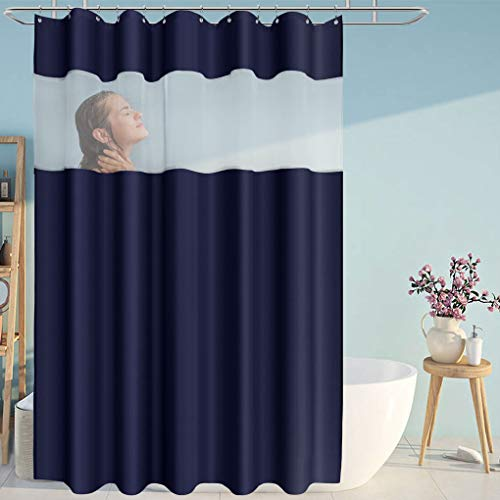 Eforcurtain Modern Striped White Organza Shower Curtains Waterproof , Solid Navy Blue Fabric Bathroom Curtain Sets Home Fashion, 72 x 78 Inches X Long