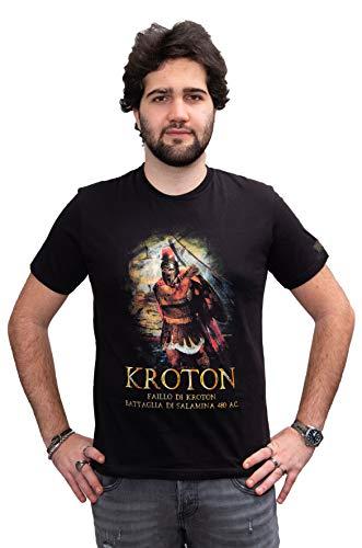 T shirt Stampa Faillo (Phayllos), durante la celeberrima Battaglia di Salamina, in tessuto morbido di qualità. Cotone 100% MADE IN ITALY. Vestibilità Fit (XL UOMO Dim Larghezza 54,5 Lunghezza 75)