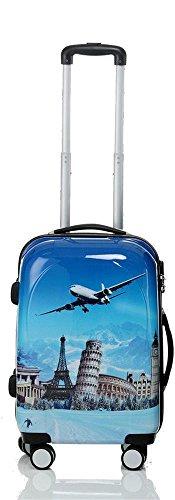 Reise Koffer Trolley mit Polycarbonat ABS Hartschale und Motiv BB (2: 45 Liter - Gr. M, Flugreise)
