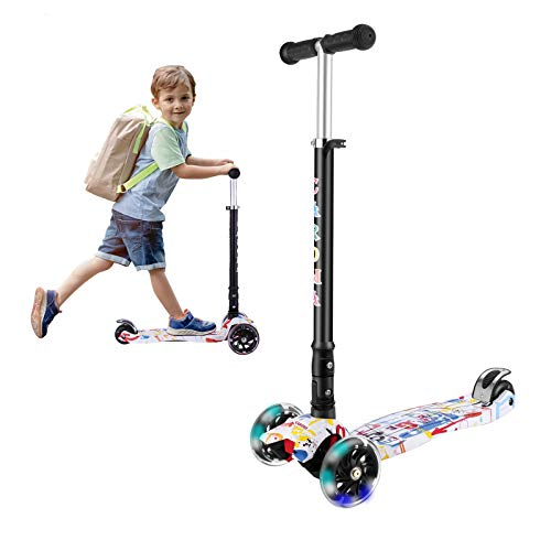 Caroma 3 Räder Kinderroller Faltbarer Kick Roller 3 Höhen Verstellbarer Lenker mit Light Up Wheels Roller für Jungen und Mädchen im Alter von 2-14 Jahren (Weiß)