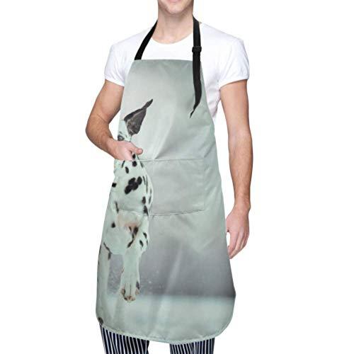 XHYYY wasserdichte Schürze mit Taschen, Hundeporträt Dalmatiner verstellbare Sicherheitsschürze, Kochschürze, Kochschürze Männer Frauen Küchenschürze, chemische Schürze