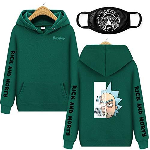 Sudadera con capucha para hombre, diseo de personajes de dibujos animados, impresin 3D, Rick & Morty Graphic con capucha, sudadera casual, divertida, verde, XL