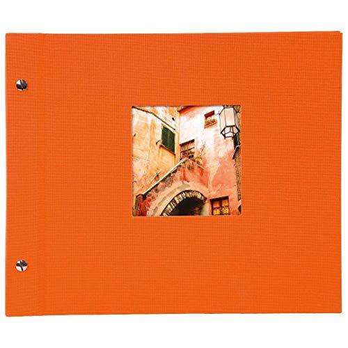 goldbuch Schraubalbum mit Fensterausschnitt, Bella Vista, 30 x 25 cm, 40 weiße Seiten mit Pergamin-Trennblättern, Erweiterbar, Leinen, Orange, 26899