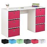 Hartleys Kids White Storage Desk and 6 Easy Grasp Box Drawers