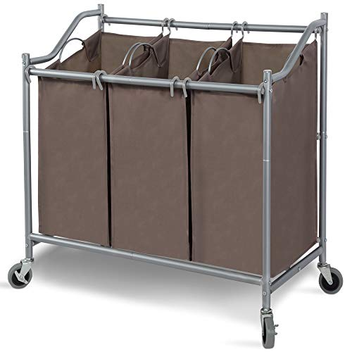 STORAGE MANIAC 3-Section Laundry Sorter, Heavy Duty Rolling Laundry Cart for Clothes, Brown