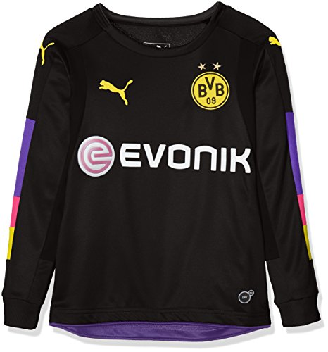 PUMA Kinder Torwartshirt BVB GK Shirt with Sponsor, black-Team violet, 176