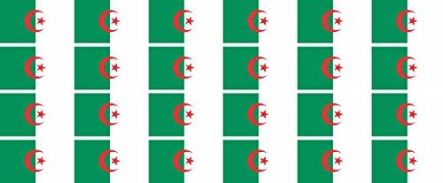 Jintora Mini Drapeaux/Drapeaux Ensemble - Lisse - 33x20mm - Autocollant - Algérie - Stickers pour Le Bureau, l'école et la Maison - 24 pièces