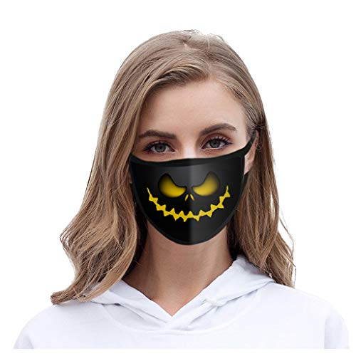 1/4/5PCS Halloween Reusable Face_Masks for Adults ,Unisex Cotton Washable Face Bandanas 3D Printing Mouth Covering, Man Women Dustproof Windproof Adjust Breathable Anti-spitting Oral Protective