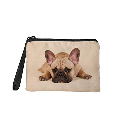 Xhuibop French Bulldog Coin Purse Eco Friendly Change Purse for Coins for Kids Pencil Clutch Bag Women Gifts Small Cosmetic Bag Zipper Money Pouches