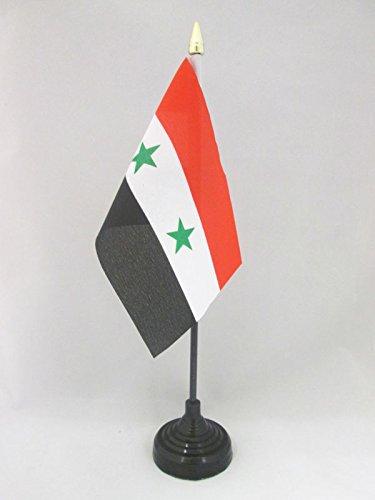 AZ FLAG TISCHFLAGGE SYRIEN 15x10cm goldene splitze - SYRISCHE TISCHFAHNE 10 x 15 cm - flaggen