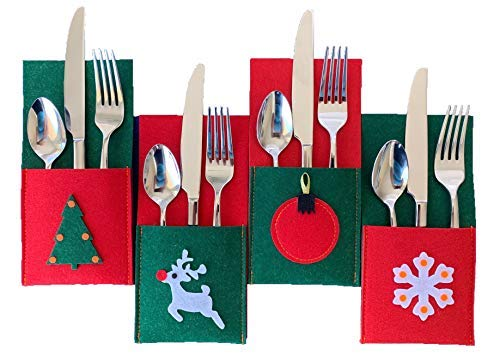 Christmas Silverware Holders for Festive and Fun Holiday Entertaining - 8 Pack of Sturdy Felt, Many Table Decoration Ideas, Use for Place Settings, Candy, Notes from Santa