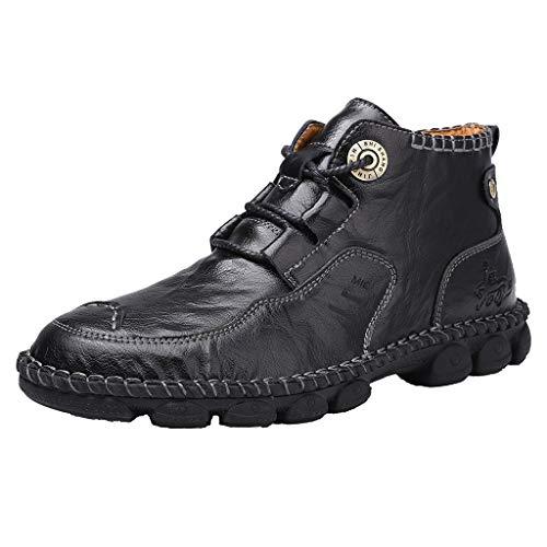 Herren Outdoor Wanderschuhe Große Größen High-Top Brogue Casual Lederschuh Weiche rutschfeste Freizeitschuhe Flache Schuhe, Schwarz