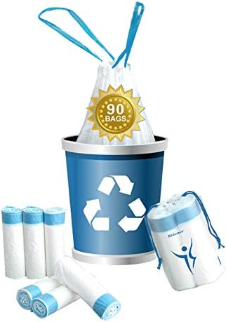 Bidener 90 Count Drawstring Trash Bags 4 Gallon White Color and Blue Drawstring Drawstring Small product image