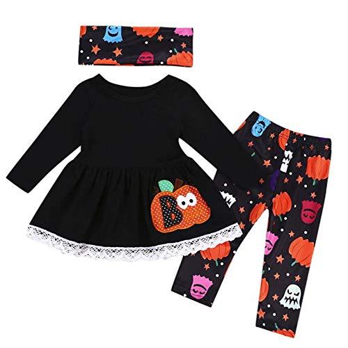 LEXUPE 3pcs Kleinkind Baby Mädchen Kürbis Tops + Pants + Schals Halloween Kleidung Outfits Set(Schwarz,100)