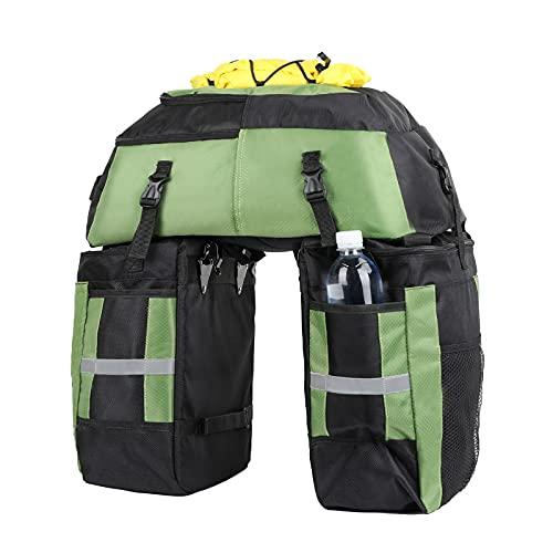 Wildken Fahrrad Gepäcktaschen 3-in-1 Wasserdicht Gepäckträgertasche Fahrräder für große Gepäcktaschen 75L Multifunction Radfahren Gepäckträger Tasche Fahrrad Reisetasche mit Regenschutz (Grün)