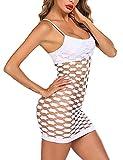 Avidlove Women's Fishnet Lingerie Babydoll Mesh Hole Strap Chemise Lingerie for Fishnet (Medium, White)