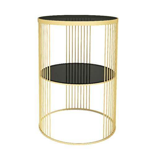 PAKUES-QO 2-Tier End Table Small Table Tempered Glass Top Double Sofa Side Table Coffee Table Suitable for Living Room Office (Circle, Gold+Black)