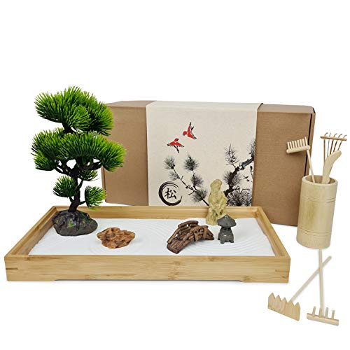 Japanese Zen Garden for Desk - Extra Large 16' x 8' Bamboo Tray with White Sand, Artificial Bonsai Tree, Rocks, Rakes and Accessories - Meditation Sand Garden Kit for Home and Office Decor