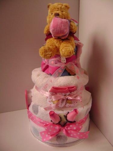 3 étages bébé fille couches gâteau – Luxe Disney Winnie l'ourson