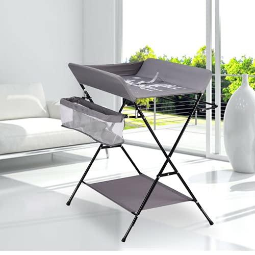 Omklädningsbord vikbart badkar baby skötbord mobilbord skötbord sköthylla med skötdyna säkerhetsbälte för spädbarn upp till 12 månader