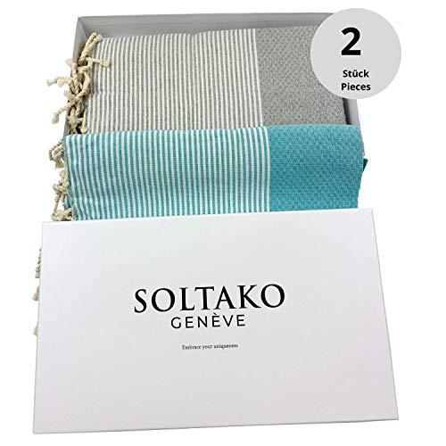 SOLTAKO XXL 2X Fouta Strandtuch Handtuch Saunatuch Badetuch Hamamtuch Yoga Decke Pestemal in Aqua & Pastellgrau Farben als 2er Geschenkset extra groß, 100 x 200 cm