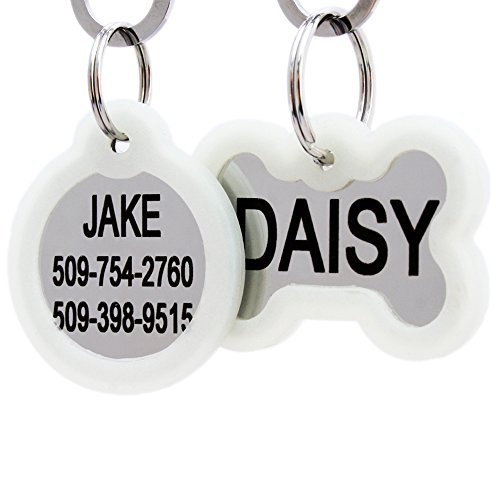 GoTags Personalized Dog Tags in Stainless Steel, Includes Glow in The Dark Tag Silencer to Reduce Noise and Protect Tag and Engraving, No Noise, Quiet Pet Tags, 2 Side Engraving, (Bone Shape)