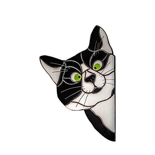 YYDE Glas-Aufkleber, Buntglas-Aufkleber, spähen Katzenfenster-Hängende Projektion-Anhänger dekorativ mit handgemaltem Design-Begleiter,2